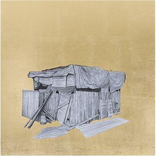 OMAR CASTILLO, De la serie Límites, 2018, Acrílico, acuarela, tinta y hoja de oro sobre papel sobre madera, 70 x 70 cm, Con certificado