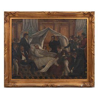Reproducción de La muerte de Napoleón de Charles Steuben. Óleo sobre tela. Enmarcado. 79 x 99 cm