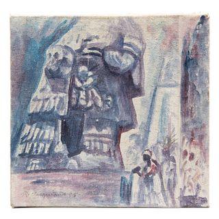 """RAÚL ANGUIANO """"Danza a Tláloc"""" Firmado y fechado '95 al frente Óleo sobre tela sobre yeso Sin enmarcar 24 x 25 cm"""