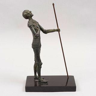 Don Quijote Fundición en bronce patinado Con base rectangular de mármol negro.  27 cm de altura con base