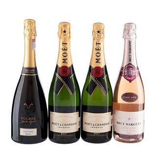 Vino Espumoso y Champagne. a) Brut dargent. b) Volare. c) Moët & Chandon. Total de piezas: 4.
