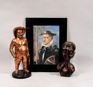 Lote mixto de 3 piezas. Siglo XX. Consta de: Sancho, Busto de Don Quijote y FIRMA SIN IDENTIFICAR Retrato de Don Quijote.