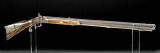 19th C. American Rifle Wood, Steel, Nacre Inlay - Leman