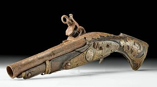 18th C. Spanish Colonial Flintlock Pistol w/ Silver