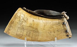 19th C. Scrimshaw Buffalo Powder Horn