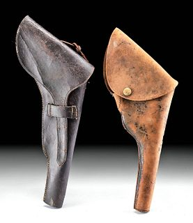 19th C. American Leather Pistol Holsters (pr)
