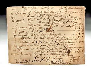 18th C. General Store Ledger Paper Receipt