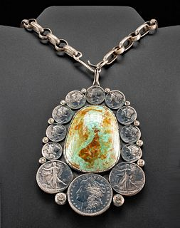 Vintage American Silver & Turquoise Pendant - Buddy Lee
