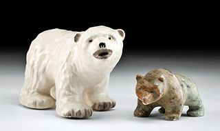 C. Alan Johnson Ceramic Bear + Hanaka Stone Bear