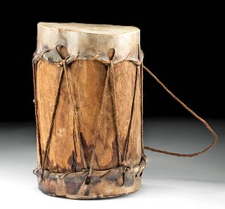 19th C. Native American Cochiti Wood & Hide Drum