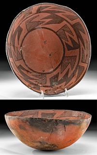 Prehistoric Anasazi Wingate Black-on-Red Pottery Bowl