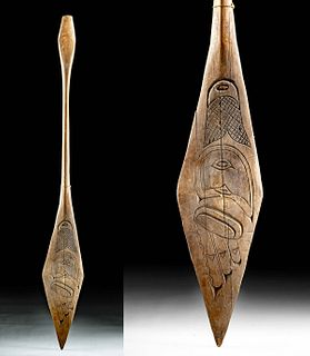 Early 20th C. Native American Tlingit Wooden Paddle