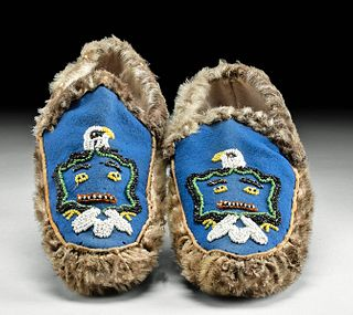 20th C. Northwest Coast Pelt & Beaded Felt Moccasins