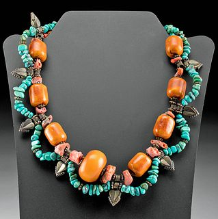 Vintage Mali Brass, Turquoise, Coral & Copal Necklace