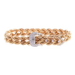 A 14K Diamond Buckle Bracelet by Hammerman Bros.