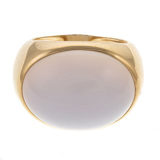 A Bold Cabochon Chalcedony Ring in 14K