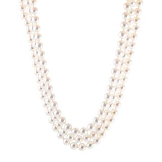 A Three-Strand Pearl Necklace with 14K Clasp