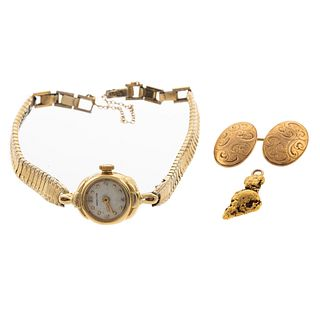 A Ladies' Hamilton Wrist Watch & Other Gold Items