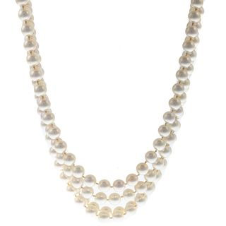 A Four-Strand Pearl Necklace with 14K Clasp