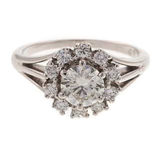 A GIA Round Brilliant Diamond & Diamond Halo Ring