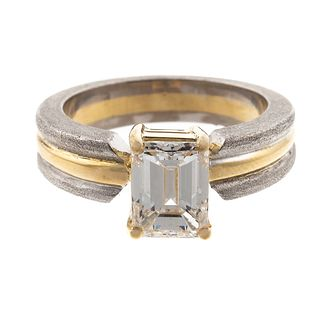 A GIA 1.55 ct Emerald Cut Diamond Ring in 18K
