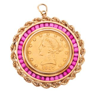 A 1907 $10 Gold Coin in Ruby Bezel
