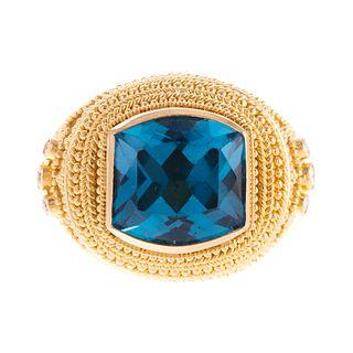 A Damaskos Athena Gaia 18K London Blue Topaz Ring