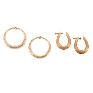 Two Pairs of Clip Hoop Earrings in 14K