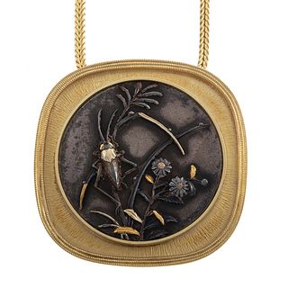 A Vintage Potter & Mellen Shakudo Necklace