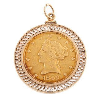 A 1849 Liberty Head $10 Gold Coin Pendant