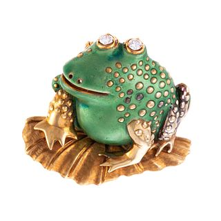 An 18K Enameled & Diamond Frog on Lily Pad Pin