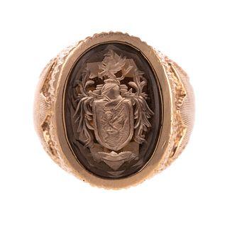 A 14K Smoky Topaz Intaglio Crest Ring
