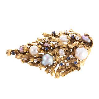 A Pearl, Diamond & Sapphire Pin by Potter & Mellen
