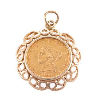 A 1856 Liberty Head Gold Quarter Eagle Pendant