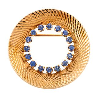 A Vintage 14K Circle Brooch with Sapphires
