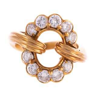 An Open Circle Diamond Ring in 18K
