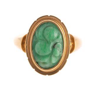 A Potter & Mellen Carved Jade Ring in 14K