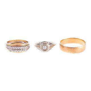 A Trio of Antique Rings in 14K, 18K & Plat