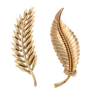 A Pair of Leaf Pins in 14K & 18K Yellow Gold