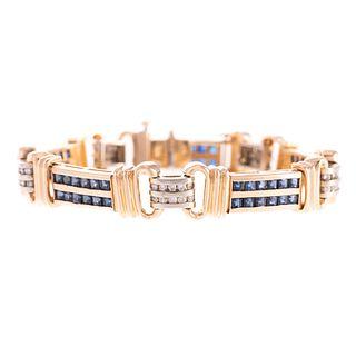 A Channel Set 14K Sapphire & Diamond Link Bracelet