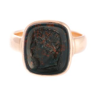 An Antique Bloodstone Roman Cameo Ring in 14K
