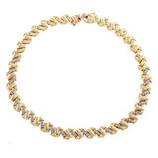 A Diamond Herringbone Link Collar in 14K