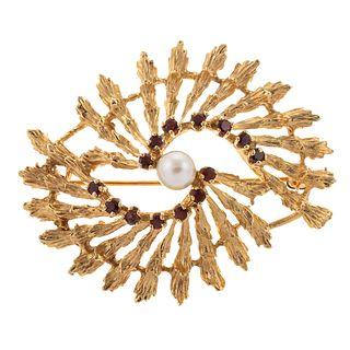 A Pearl & Garnet Swirl Pin in 18K