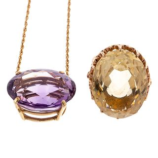 A Large Citrine Ring & Amethyst Pendant in 14K