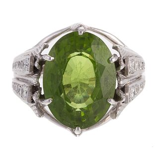 A 14K White Gold Ring Featuring Peridot & Diamonds