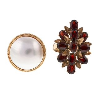 A Mabe Pearl Ring & Garnet Cluster Ring in 14K