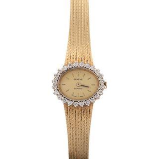 A Ladies Vintage 14K Geneve Diamond Wrist Watch
