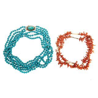 A Branch Coral Necklace & A Turquoise Necklace