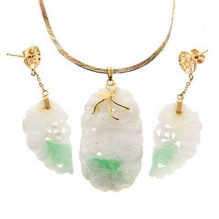 A Pair of Jade Earrings & Jade Pendant in 14K