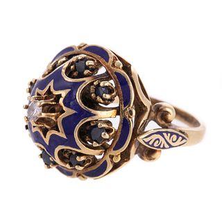A Diamond, Sapphire & Enamel Bombe Ring in 14K